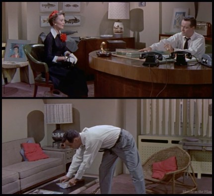 My Sister Eileen: Garrett matches Lemmon's office and his tie, and looks a lot like the watercolor propped up behind her!