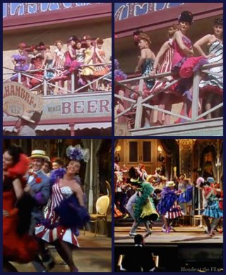 Look for the white dress with red stripes. A saloon girl wears it in The Harvey Girls (top two)