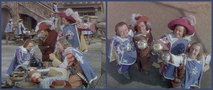 The Three Musketeers: Van Heflin, Gene Kelly, Gig Young, and Robert Coote