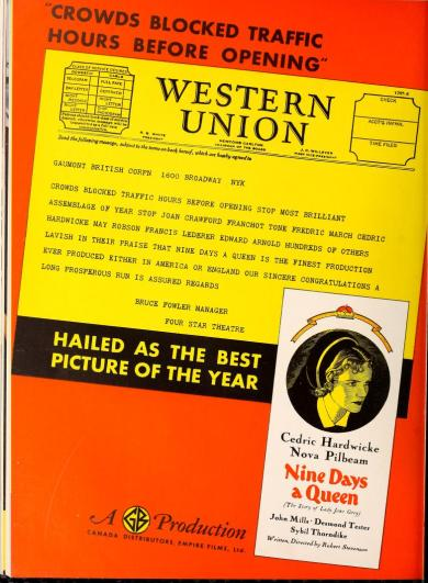 "An ad for ""Nine Days a Queen"" using a telegram. Motion Picture Daily, September 1, 1936. via: http://lantern.mediahist.org/catalog/motionpicturedai40unse_0596"
