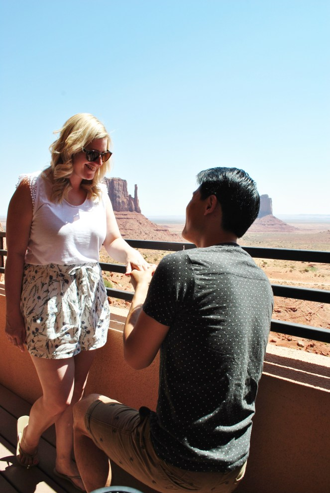 Blonde Engagement at monument valley