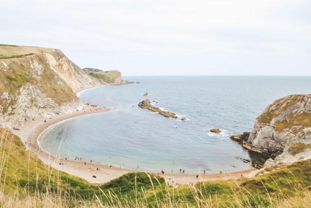 Jurassic Coast Dorset coastline with beach and shore Durdle Door