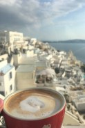 Coffee with a view in Fira.