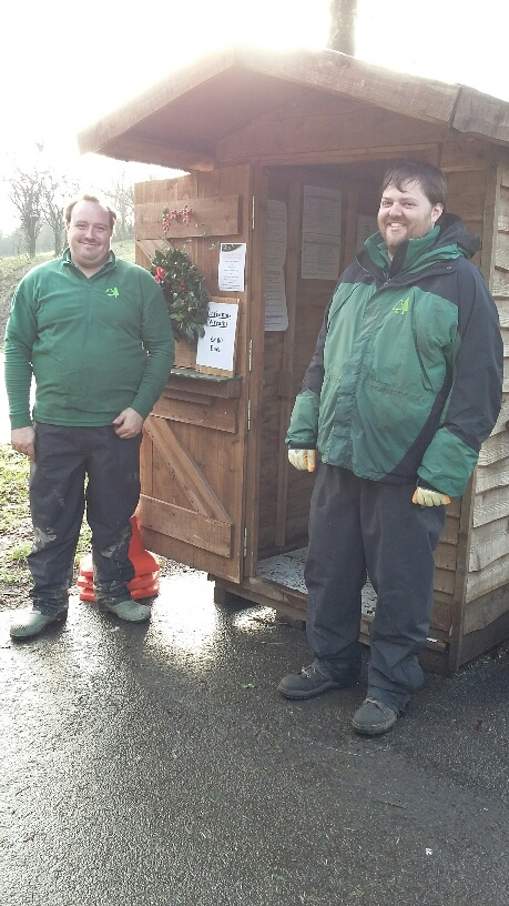 David and Matt ready to sell trees.