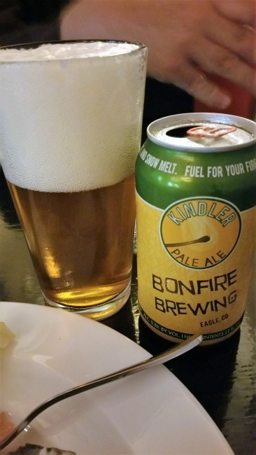 Bonfire Brewing Pale Ale, good stuff. Would prefer a bottle but alas, I will try new things.