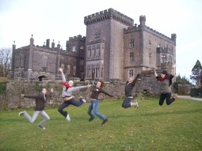 Jumping for joy in front of Markree Castle in Sligo
