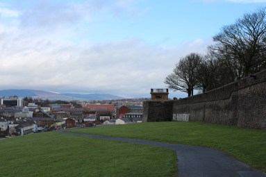 On the hill right outside the old Derry city walls.