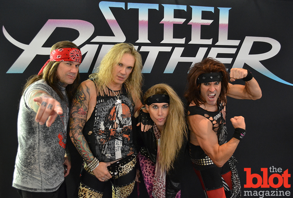 Stix Zadinia, Michael Starr, Lexxi Foxx and Satchel of Steel Panther at the Barclays Center in Brooklyn. (Photo by Tom Roarty)