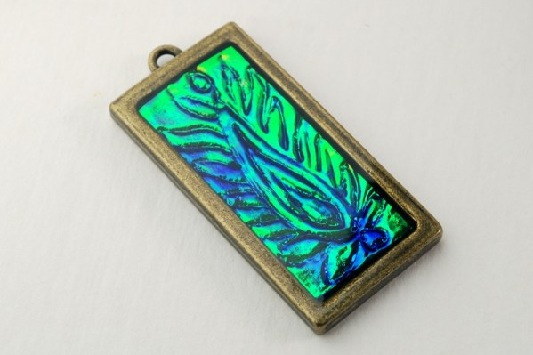 Blue Flame Feather Holographic Effect Pendant