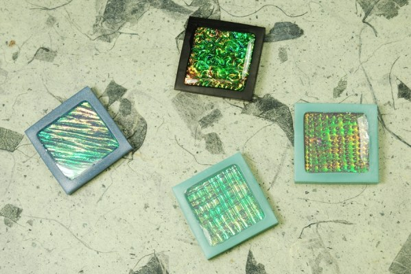 Four new polymer clay holo tiles showing the kinds of variation that are possible.