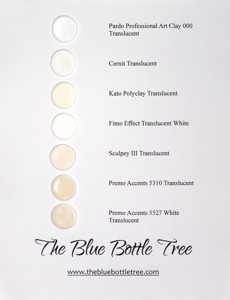 A sample of raw uncured translucent polymer clay in several brands was compared for color.