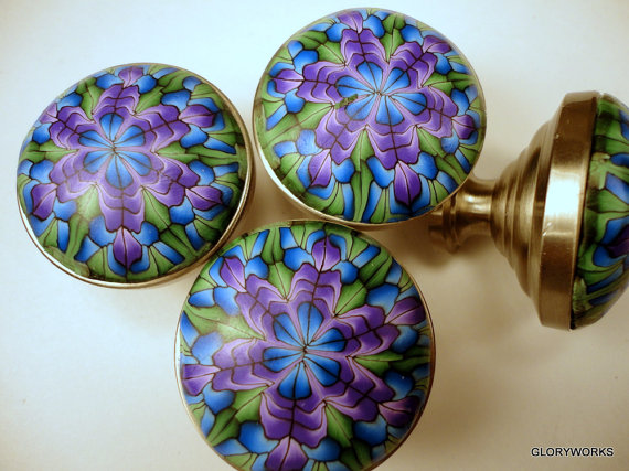 polymer clay millefiori cane covered cabinet knobs by gloryworks