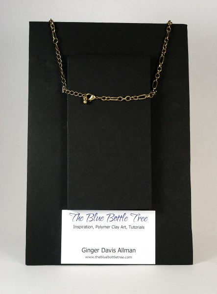Foam core necklace display, showing the back side.