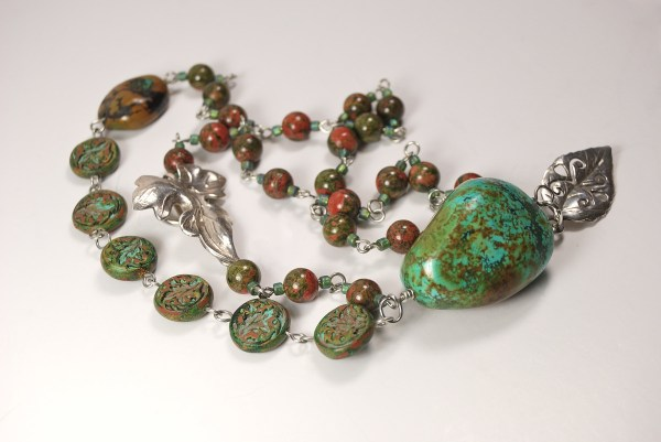 Bead Soup Necklace with focal and clasp, featuring Rustic Accent Connector Beads by The Blue Bottle Tree.