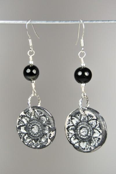 Silvia's black and grey Rustic Earrings