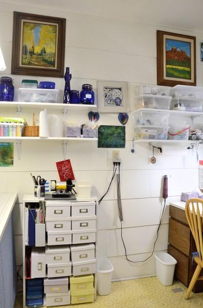 Art studio craft room of The Blue Bottle Tree.