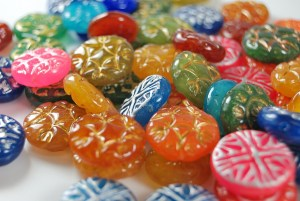 Faux Czech glass beads made from polymer clay with the tutorial from The Blue Bottle Tree.
