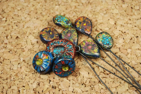 Rustic polymer clay beads and components made with the tutorial by The Blue Bottle Tree.