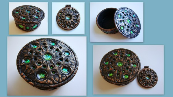Polymer Clay box with Holo Effect insets made by Carrie Harvey from Beads from the Coast.