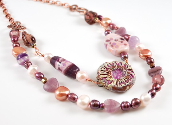 Pink and Copper asymmetrical necklace made for the 8th Bead Soup Blog Party.