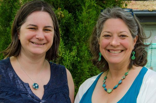 Cara Jane Hayman and Ginger Davis Allman, two polymer clay artists meeting to share their ideas.