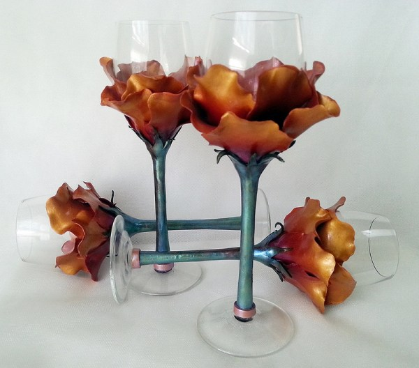 polymer clay decorated wine glasses by Melody Tallon