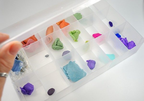 Store polymer clay in clay-safe divided boxes to keep it fresh and dust free. More tips here.