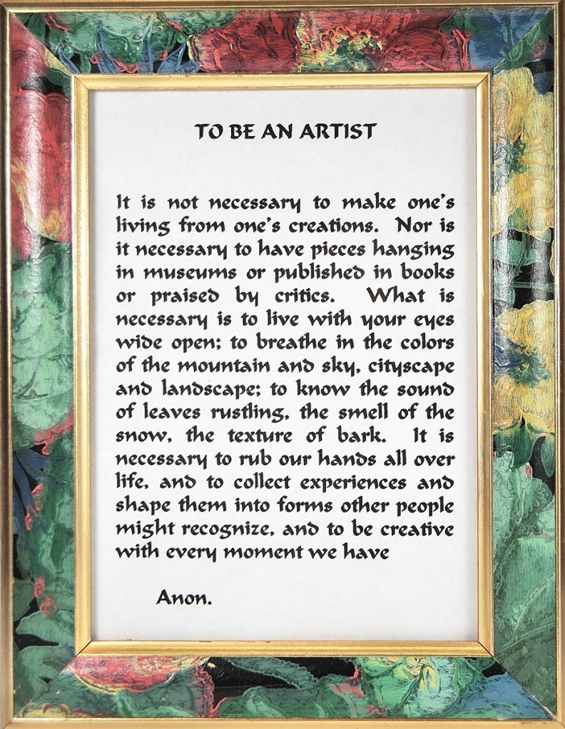 Inspirational poem, To Be an Artist.