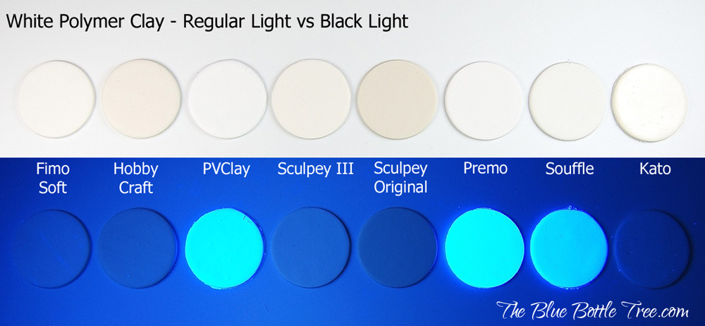 Some brands of white polymer clay contain a fluorescent dye called an optical brightener to make it appear more white.