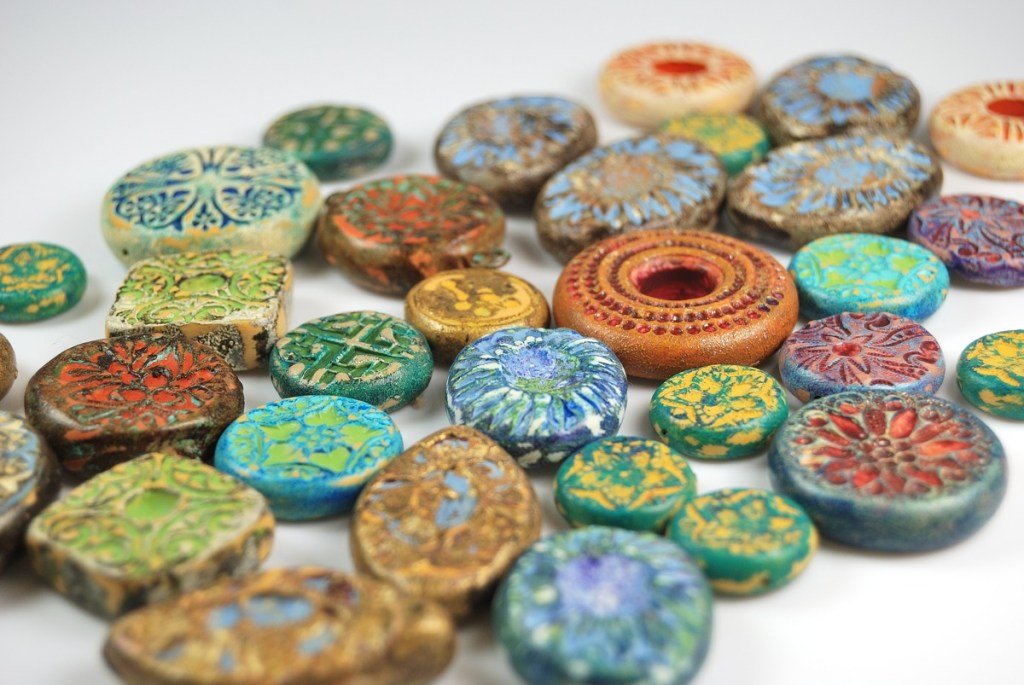 Rustic Beads and Components made from polymer clay by Ginger Davis Allman of The Blue Bottle Tree.