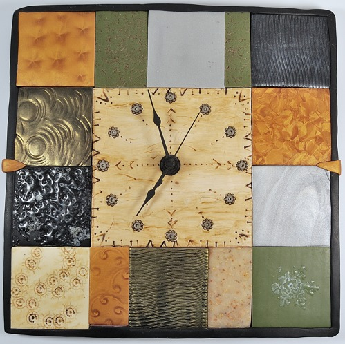 Copied polymer clay clock, done as a copy of Irene Semanchuk's tiled clock.