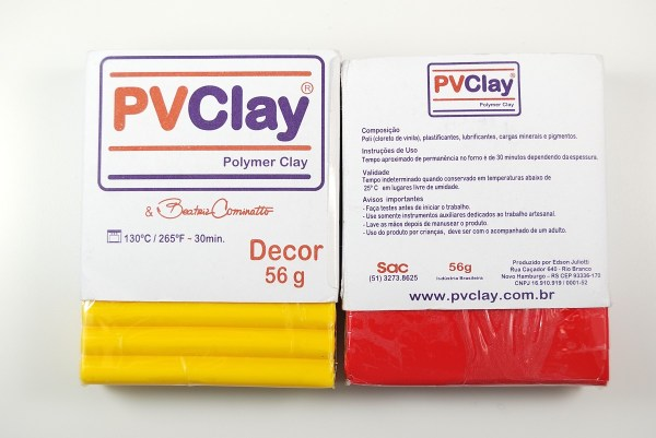 Front and back of PVClay packaging.