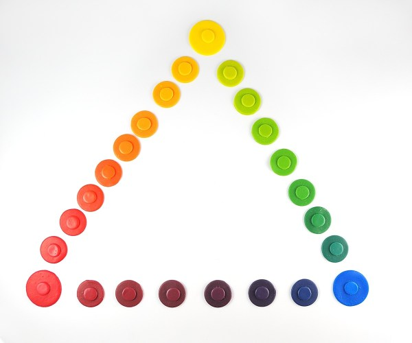Color wheel triangle with the primary colors of PVClay.