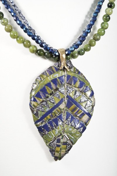 Mosaic leaf necklace made at the KCPCG workshop with Ann and Karen Mitchell.