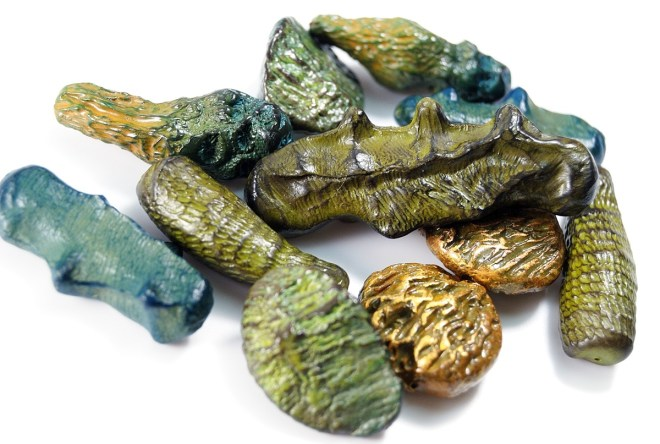 Organic beads made from polymer clay by Ginger Davis Allman.