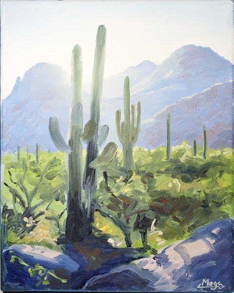 Original cactus oil painting by Meg Newberg.