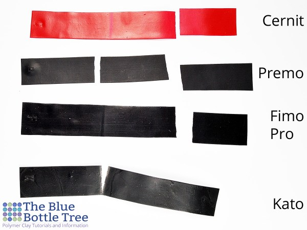 Strips of polymer clay show the relative strength and durability of Cernit, Premo, Kato, and Fimo Professional.