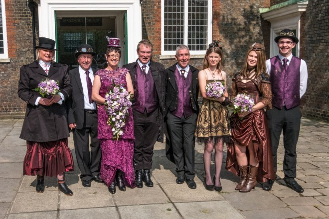 The wedding party in my sister-in-law's steampunk wedding.