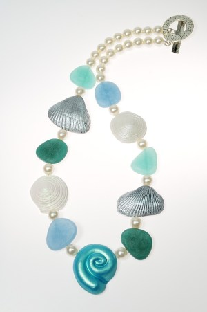 Faux shell and sea glass necklace made from polymer clay by Ginger Davis Allman.