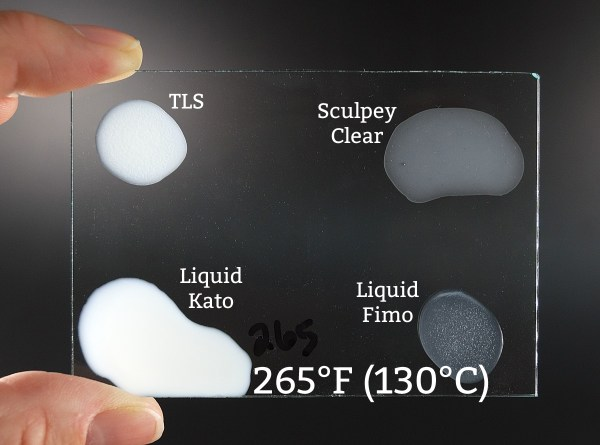 Four brands of liquid polymer clay baked at 265°F.