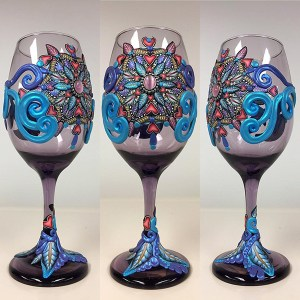Decorated wine glasses by Teresa Stepp of The Clay Monet