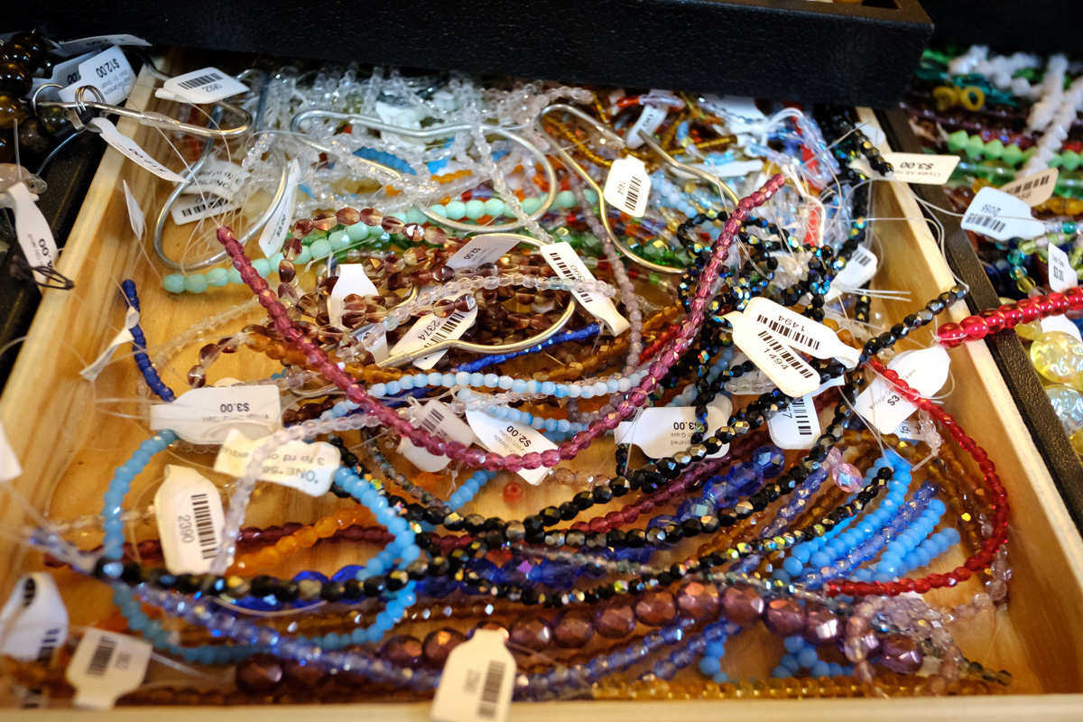 Glass beads at Allegory Gallery in Ligonier, Pennsylvania.