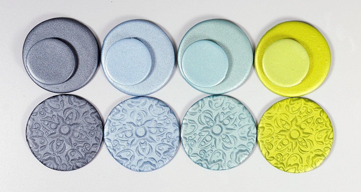 Here are the cool colors in the Cernit Metallic line.