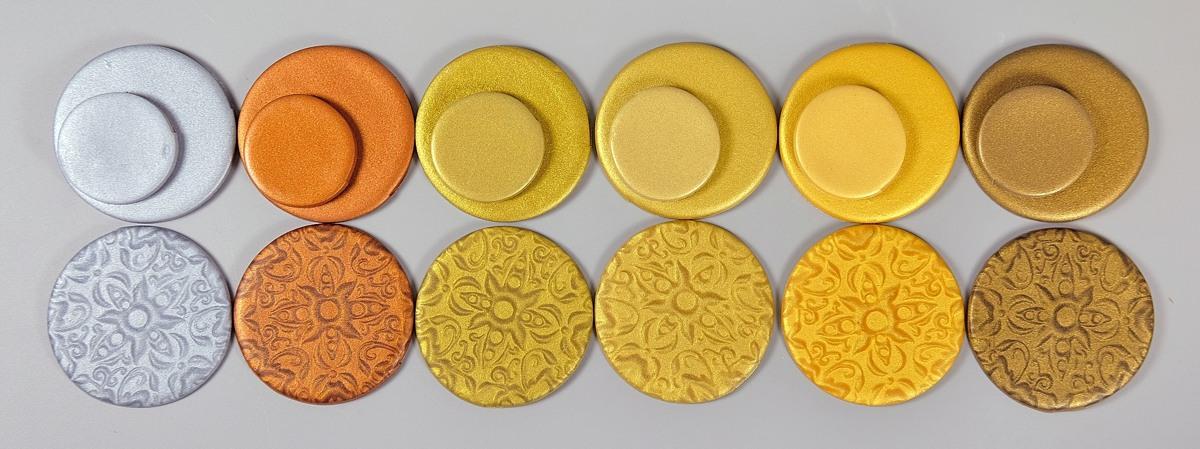 Cernit metallic polymer clay.