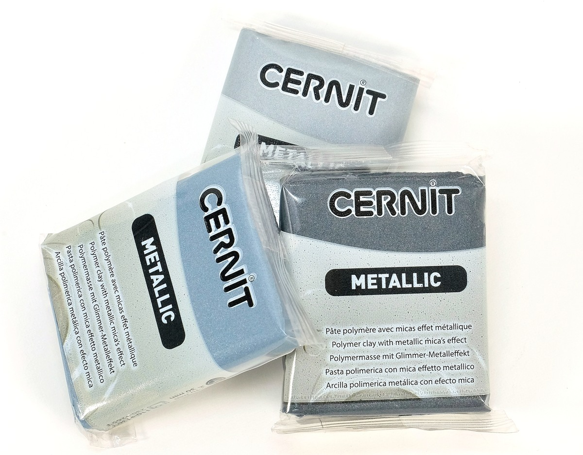 These colors of Cernit Metallic contain silver colored mica.