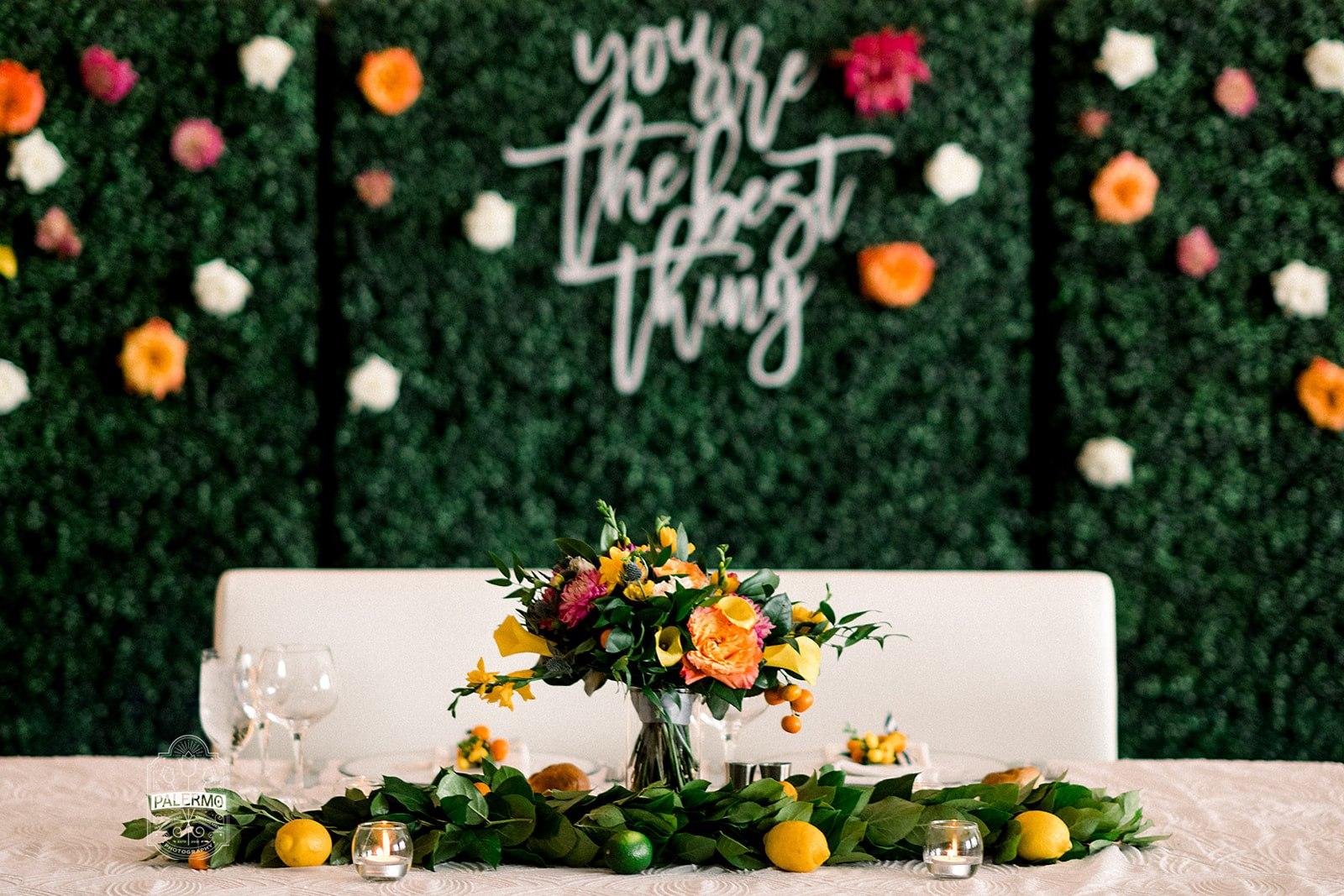 boxwood hedges backdrop head table Fairmont wedding reception bridal bouquet