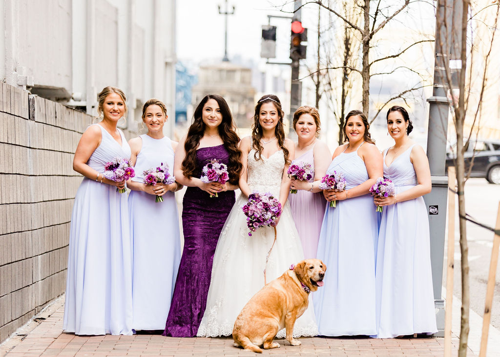 bride and bridesmaids outdoor wedding portrait downtown Pittsburgh