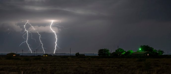 Large lightning strike at night on Tornado Alley
