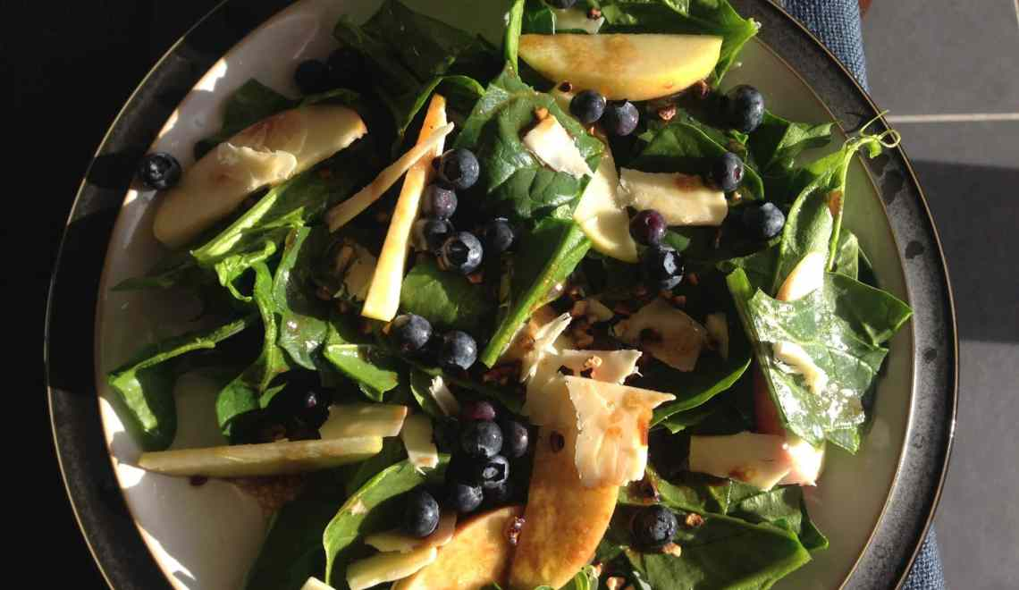 Apple, spinach, maple balsamic crunch salad