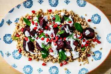 A busy family menu: Farro and roasted Beetroot Salad